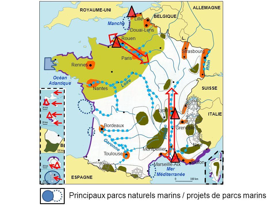 Principaux parcs naturels marins / projets de parcs marins