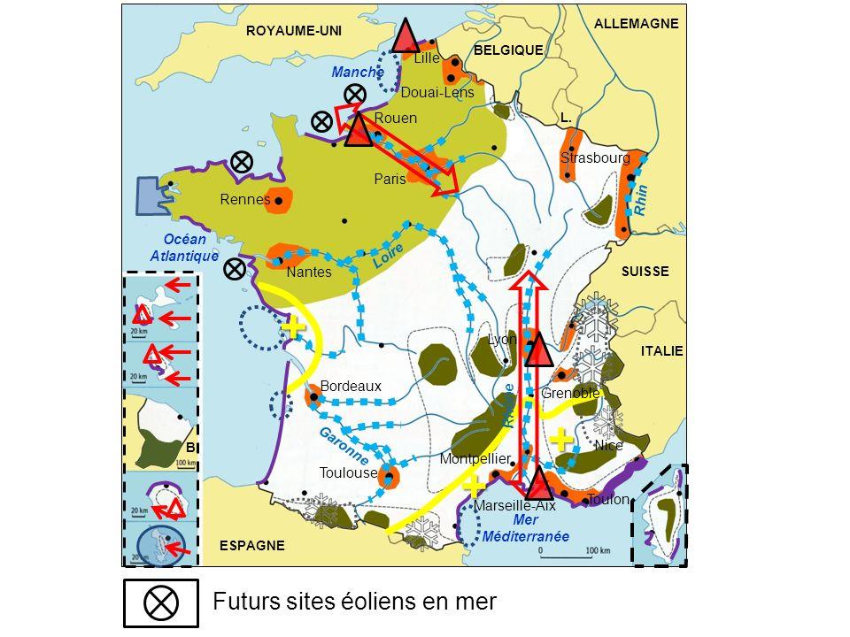 + + + Futurs sites éoliens en mer Lille Manche Douai-Lens Rouen