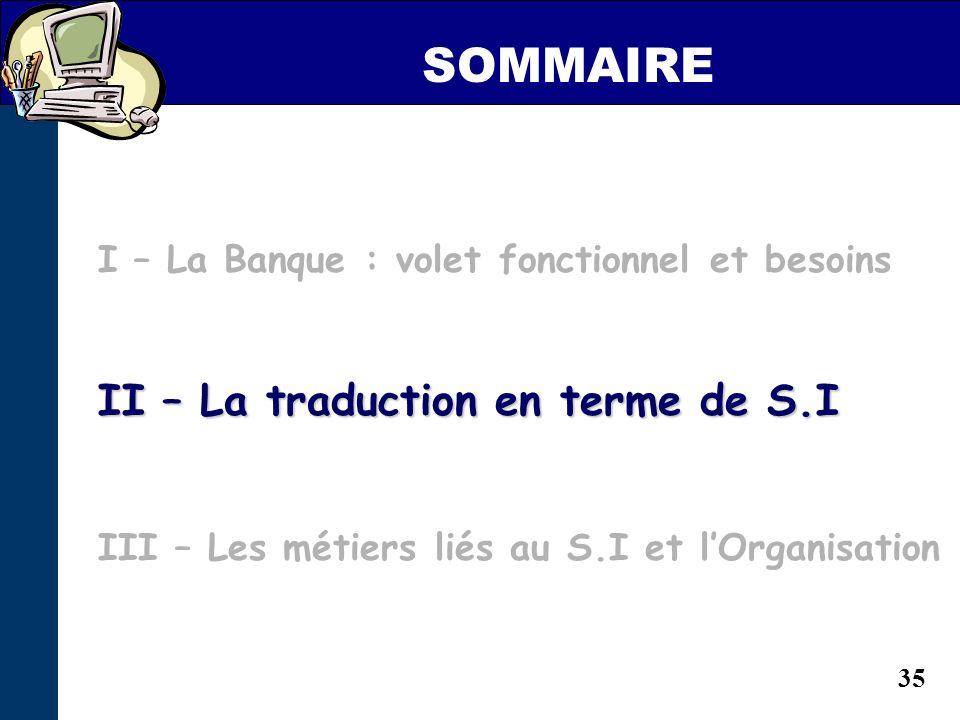 SOMMAIRE II – La traduction en terme de S.I