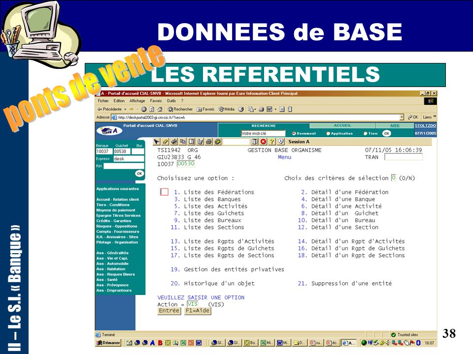 DONNEES de BASE ponts de vente LES REFERENTIELS