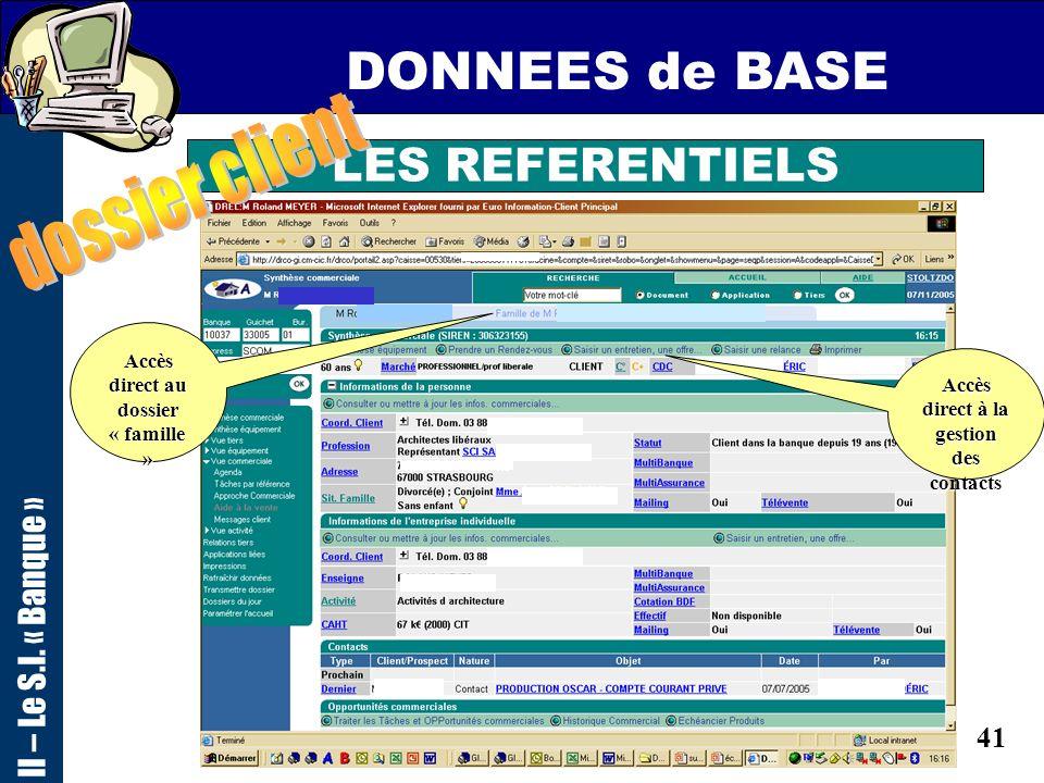 DONNEES de BASE dossier client LES REFERENTIELS