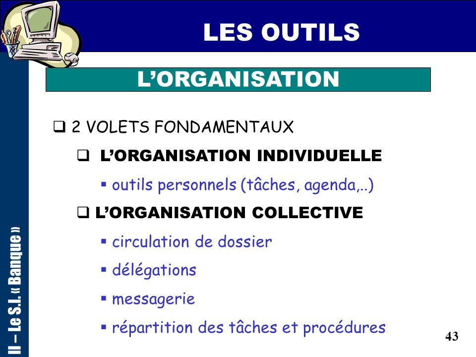 LES OUTILS L'ORGANISATION 2 VOLETS FONDAMENTAUX