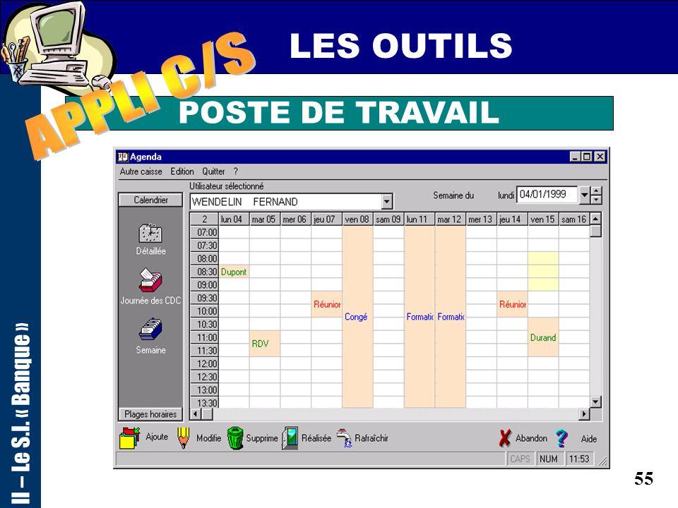 LES OUTILS II – Le S.I. « Banque » APPLI C/S POSTE DE TRAVAIL
