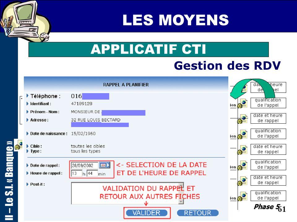 LES MOYENS APPLICATIF CTI Gestion des RDV II – Le S.I. « Banque »