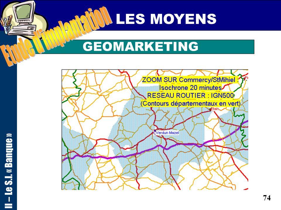 LES MOYENS Etude d implantation II – Le S.I. « Banque » GEOMARKETING