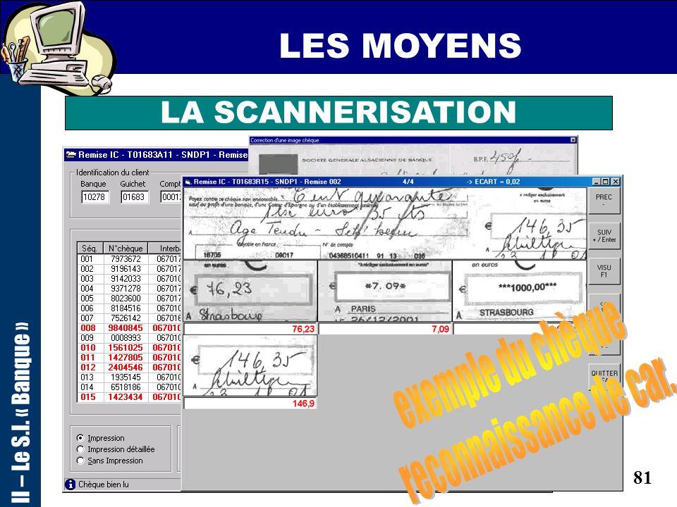 LES MOYENS exemple du chèque reconnaissance de car. LA SCANNERISATION