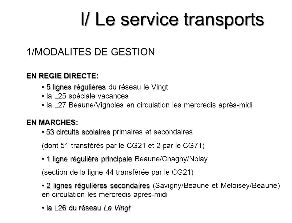 I/ Le service transports