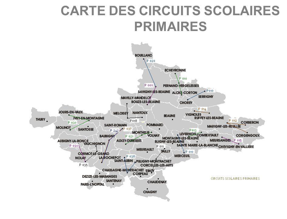 CARTE DES CIRCUITS SCOLAIRES PRIMAIRES