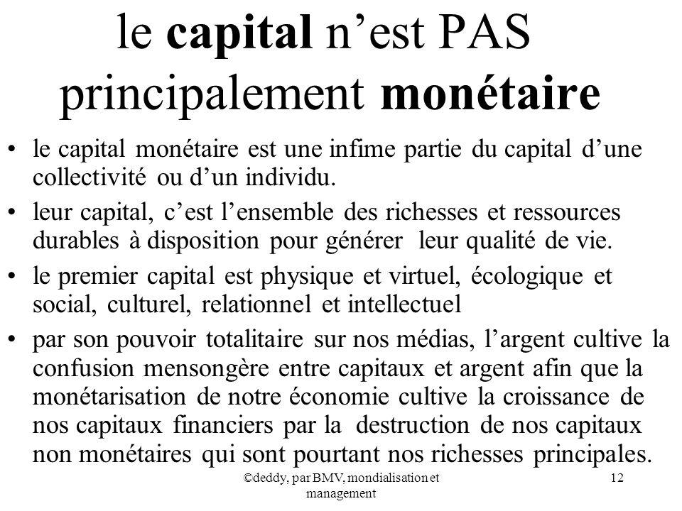 le capital n'est PAS principalement monétaire