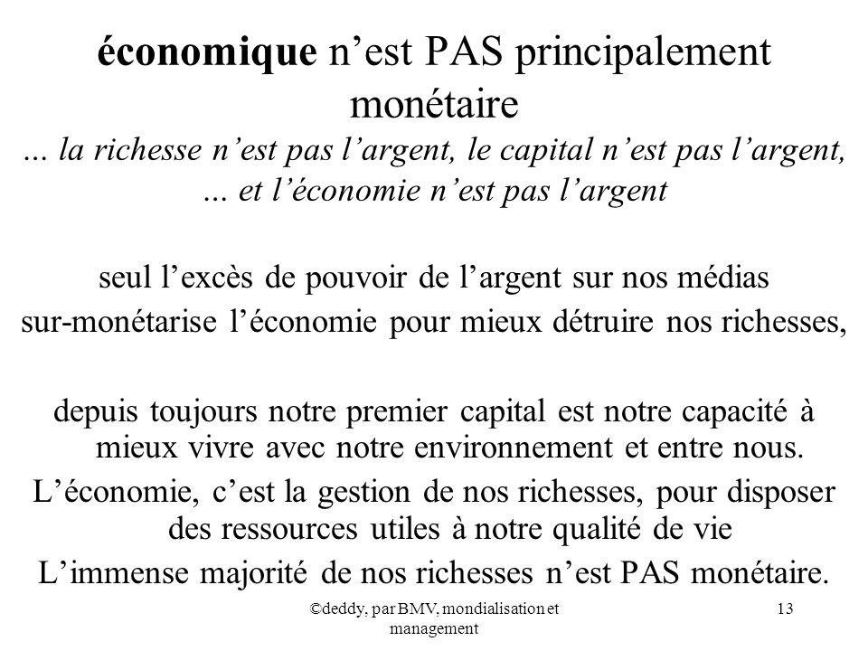 économique n'est PAS principalement monétaire … la richesse n'est pas l'argent, le capital n'est pas l'argent, … et l'économie n'est pas l'argent