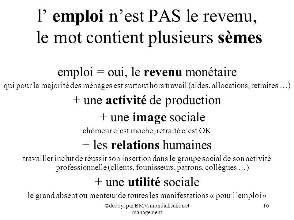 l' emploi n'est PAS le revenu, le mot contient plusieurs sèmes
