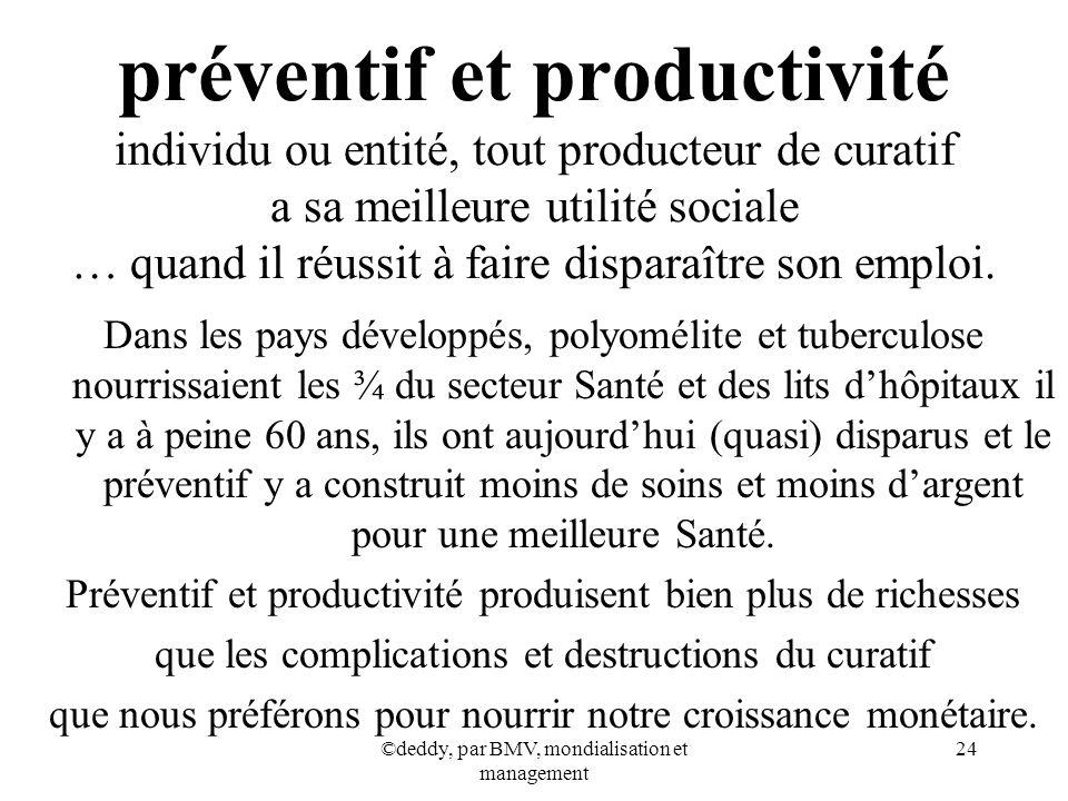 préventif et productivité individu ou entité, tout producteur de curatif a sa meilleure utilité sociale … quand il réussit à faire disparaître son emploi.