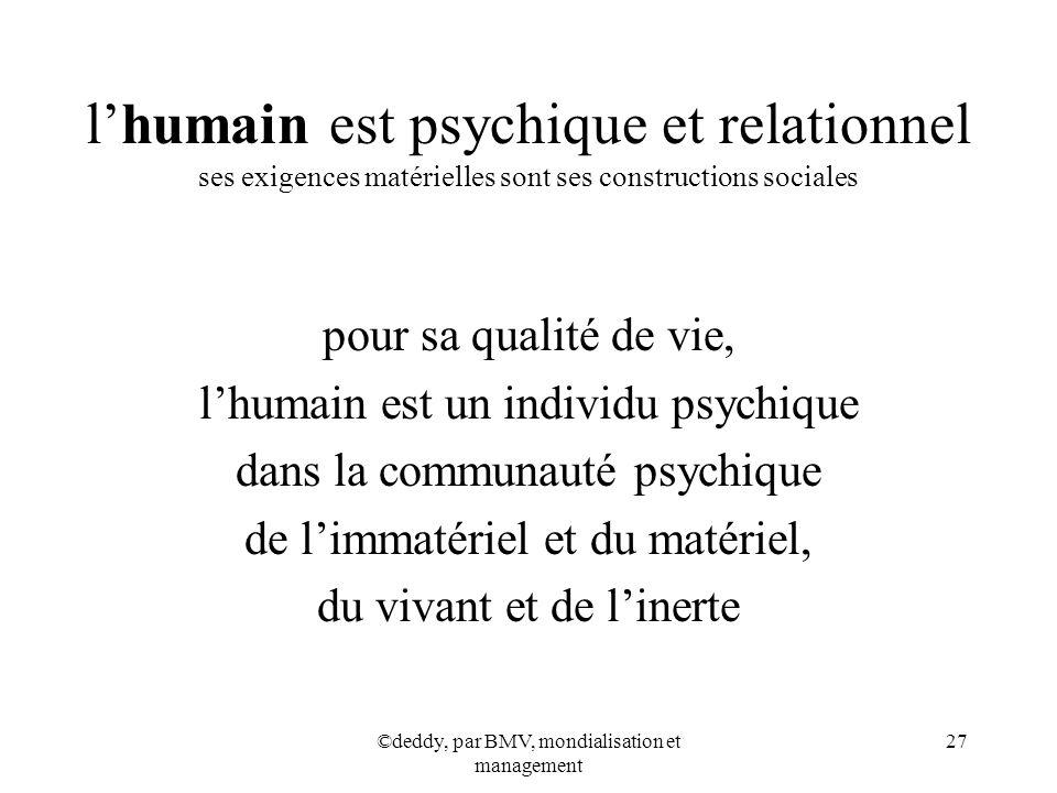 l'humain est psychique et relationnel ses exigences matérielles sont ses constructions sociales