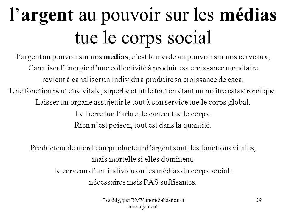 l'argent au pouvoir sur les médias tue le corps social