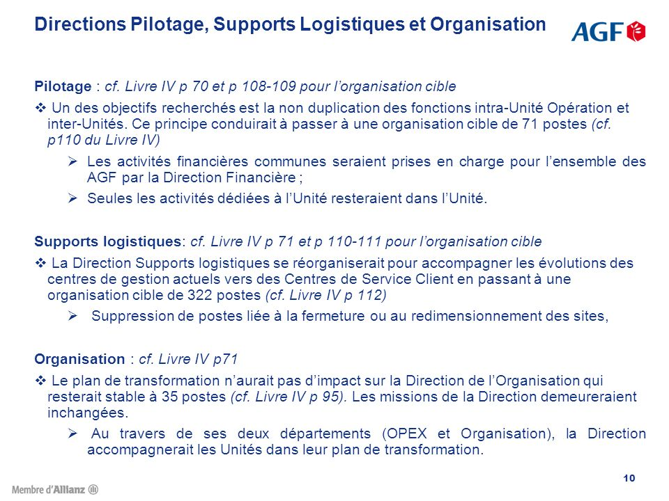 Directions Pilotage, Supports Logistiques et Organisation