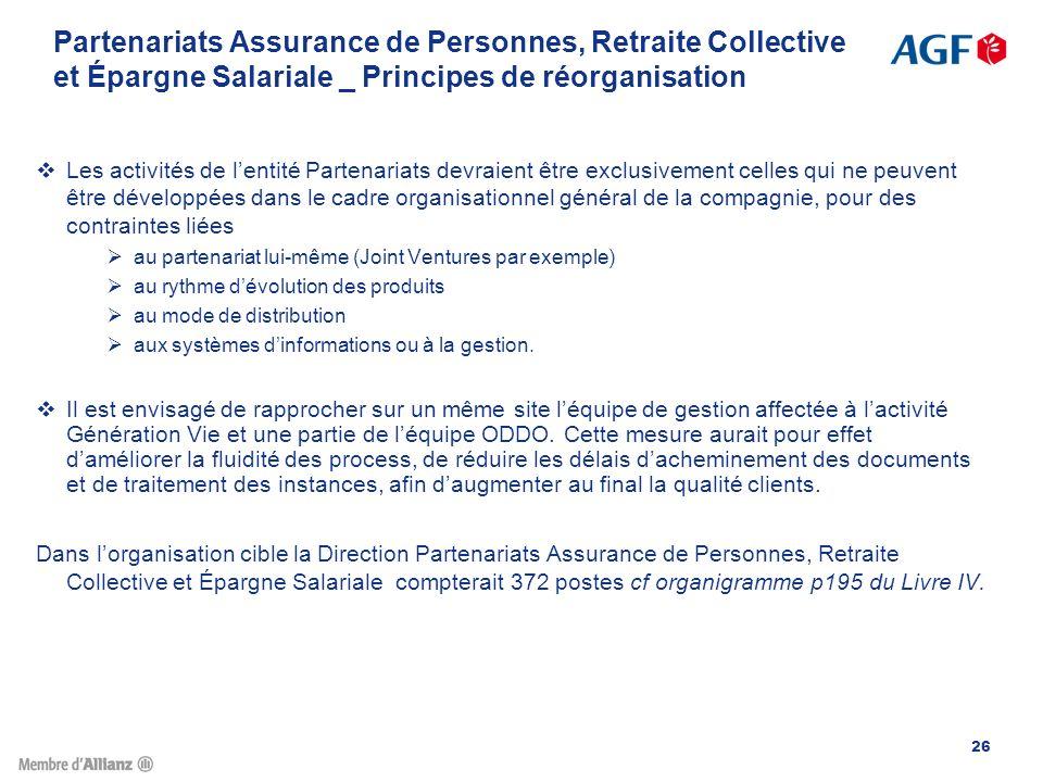 Partenariats Assurance de Personnes, Retraite Collective et Épargne Salariale _ Principes de réorganisation