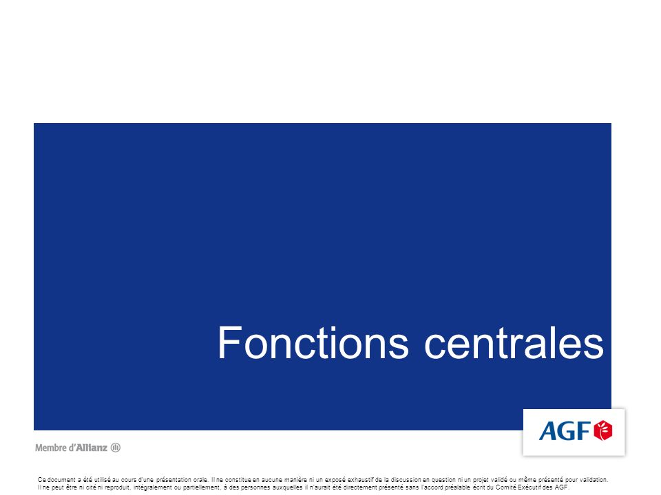 Fonctions centrales