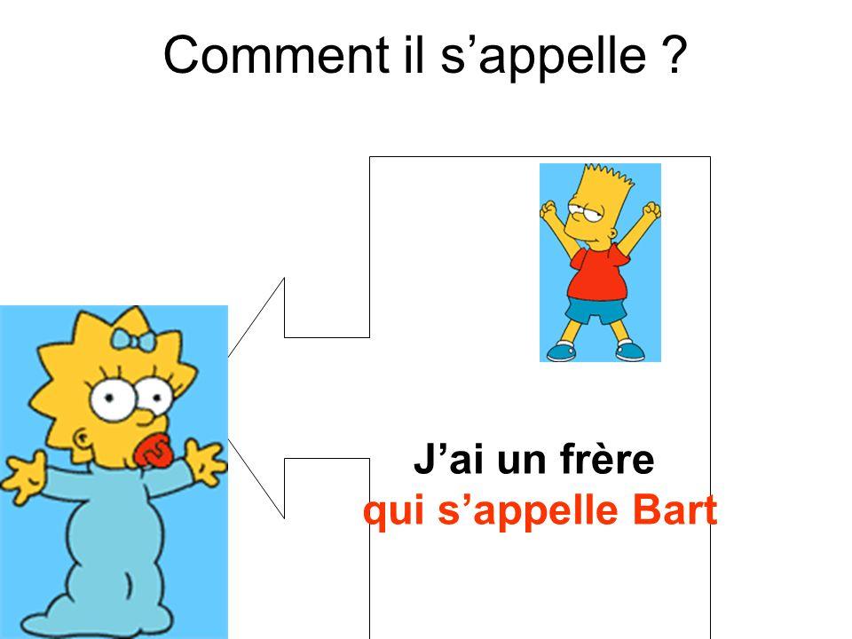Comment il s'appelle J'ai un frère qui s'appelle Bart