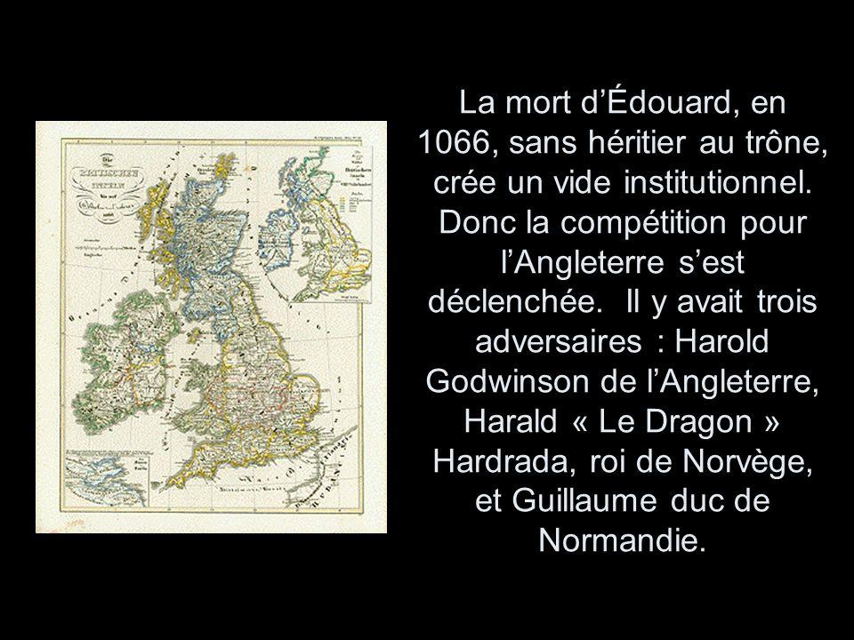 La mort d'Édouard, en 1066, sans héritier au trône, crée un vide institutionnel.