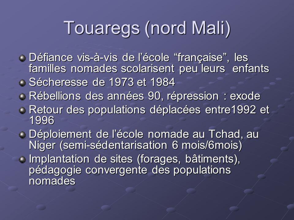 Touaregs (nord Mali)Défiance vis-à-vis de l'école française , les familles nomades scolarisent peu leurs enfants.