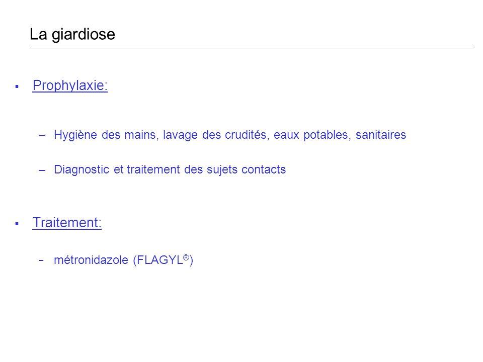 La giardiose Prophylaxie: Traitement: