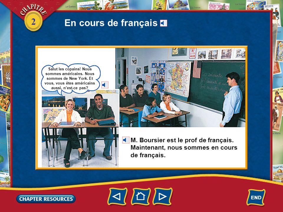En cours de français M. Boursier est le prof de français.