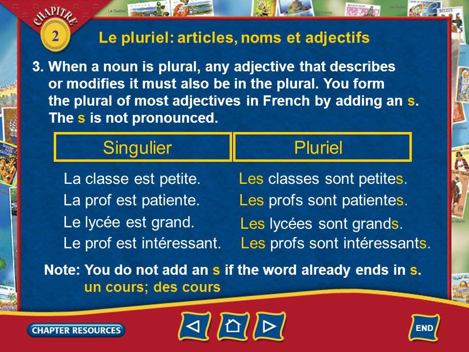 Singulier Pluriel Le pluriel: articles, noms et adjectifs
