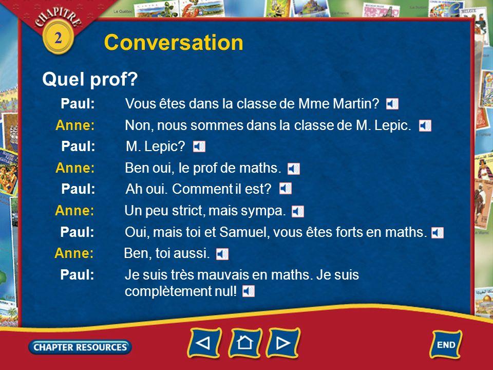 Conversation Quel prof Paul: Vous êtes dans la classe de Mme Martin