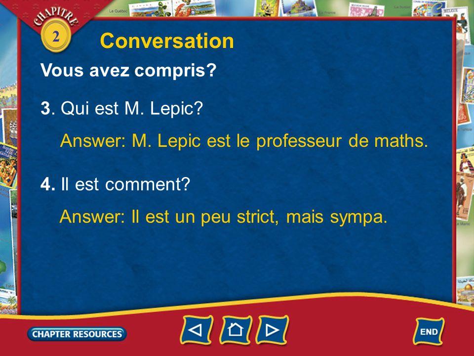 Conversation Vous avez compris 3. Qui est M. Lepic