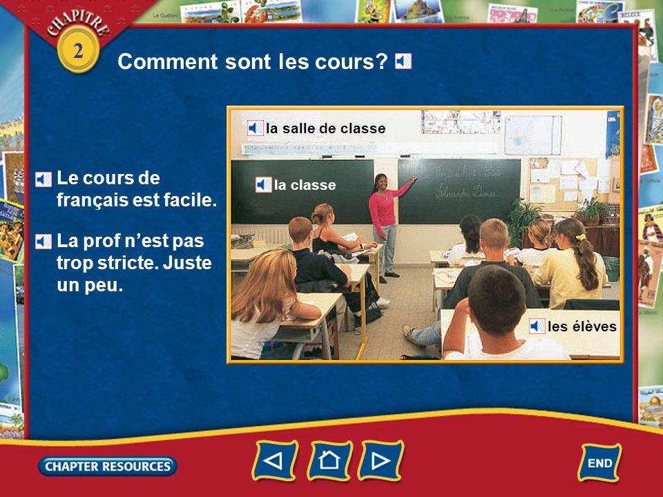 Comment sont les cours Le cours de français est facile.