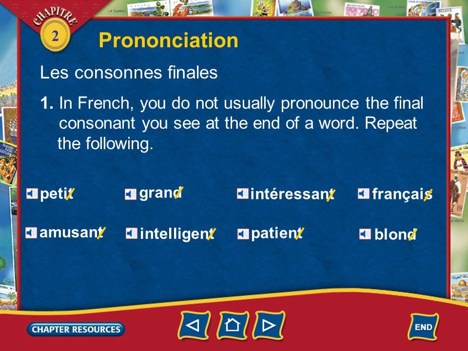 Prononciation Les consonnes finales