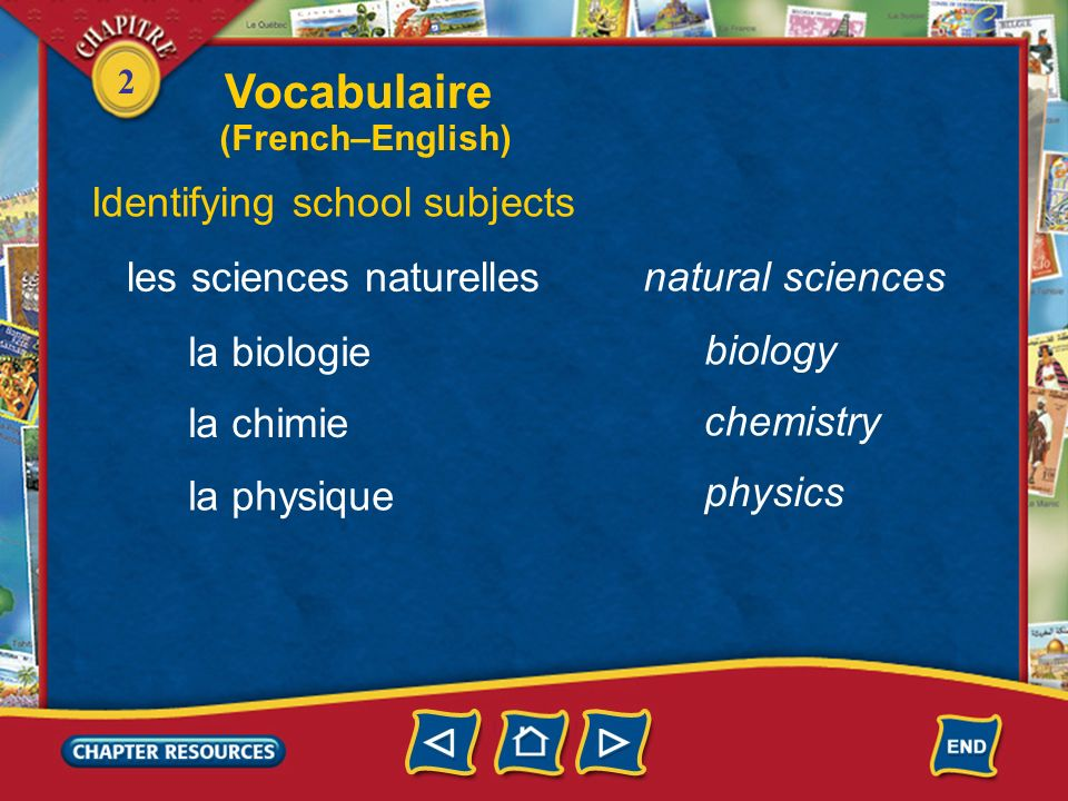 Vocabulaire Identifying school subjects les sciences naturelles