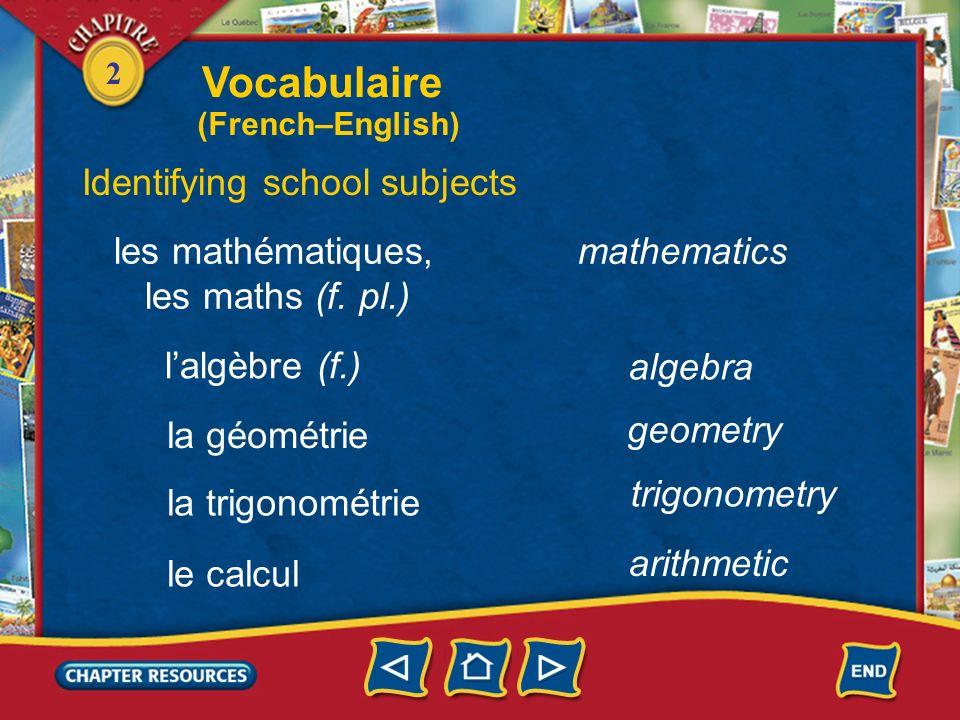 Vocabulaire Identifying school subjects les mathématiques,