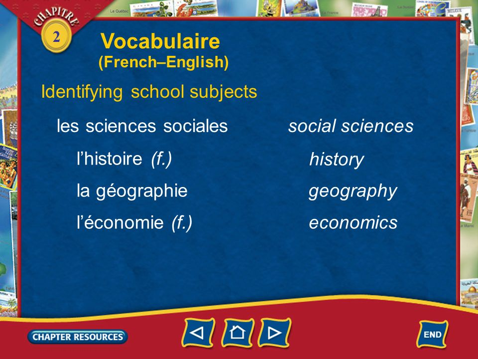 Vocabulaire Identifying school subjects les sciences sociales