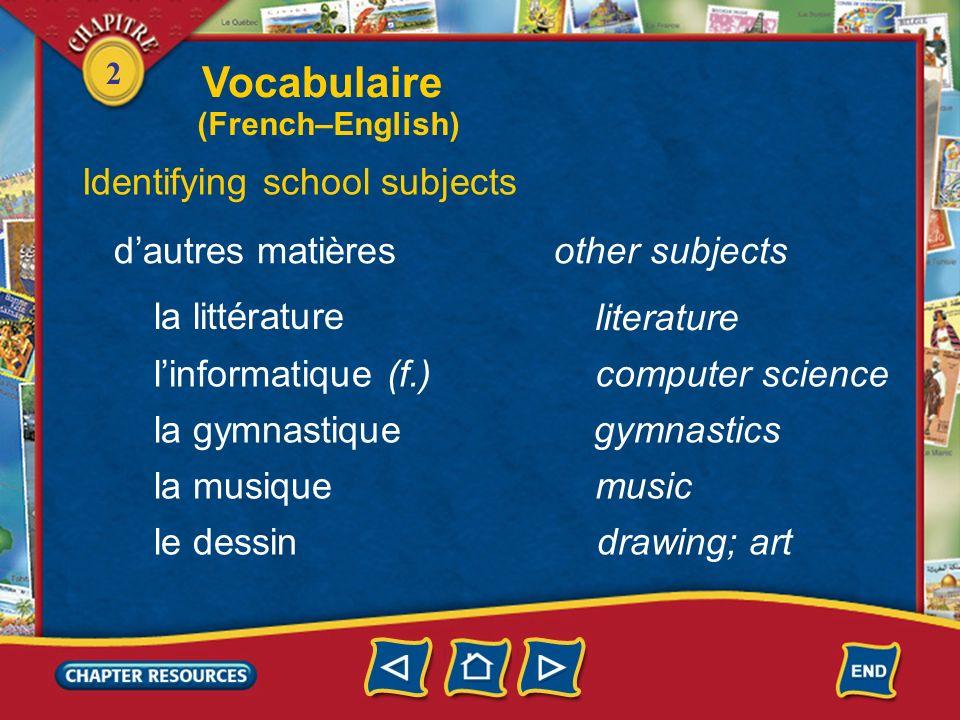 Vocabulaire Identifying school subjects d'autres matières