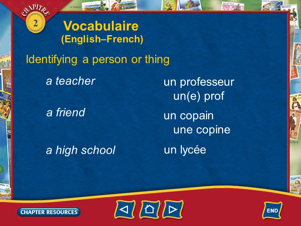 Vocabulaire Identifying a person or thing a teacher un professeur