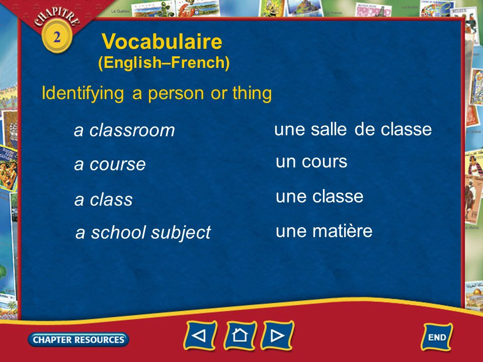 Vocabulaire Identifying a person or thing a classroom