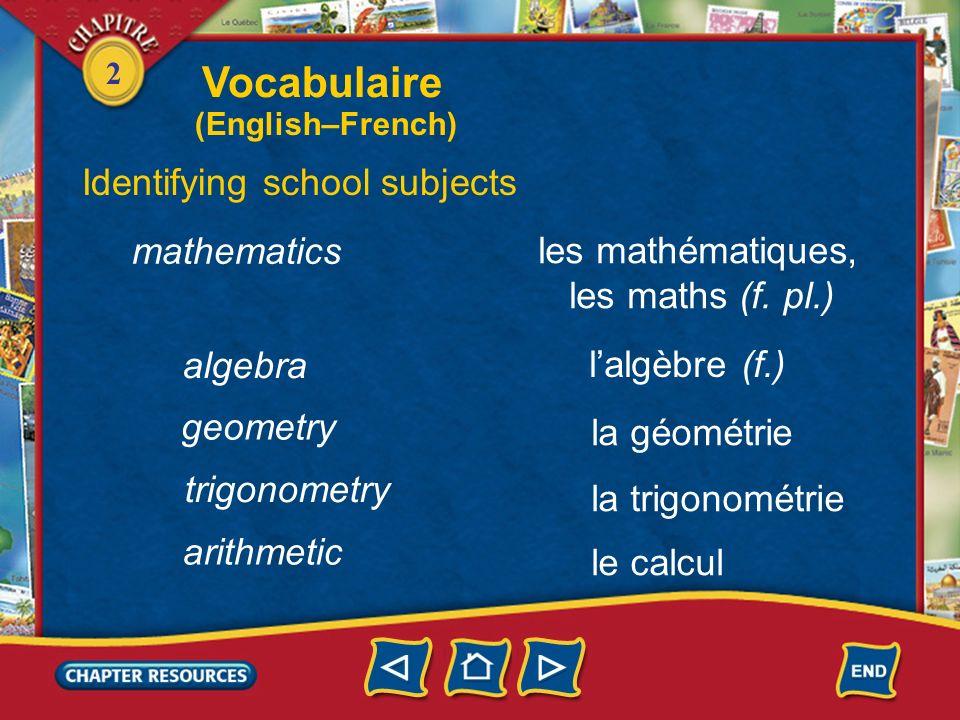 Vocabulaire Identifying school subjects mathematics les mathématiques,