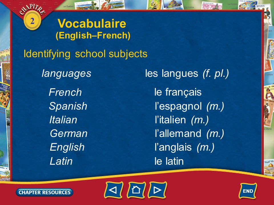 Vocabulaire Identifying school subjects languages les langues (f. pl.)