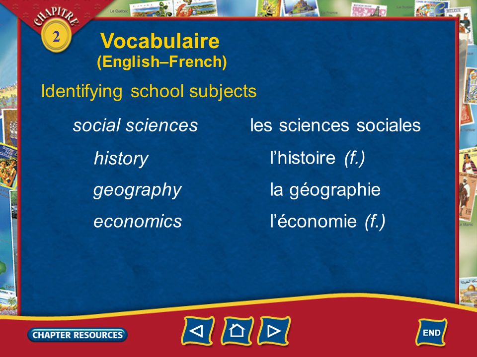 Vocabulaire Identifying school subjects social sciences