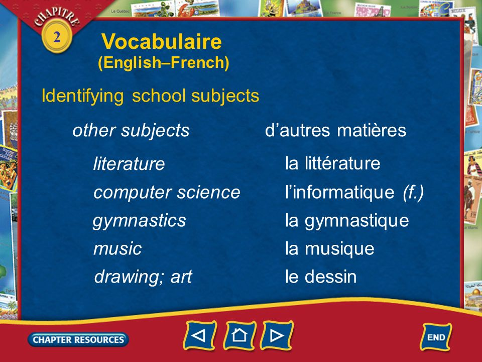 Vocabulaire Identifying school subjects other subjects