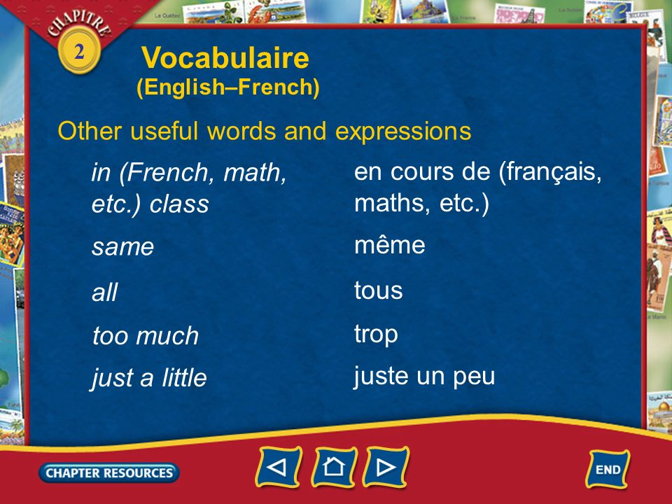Vocabulaire Other useful words and expressions