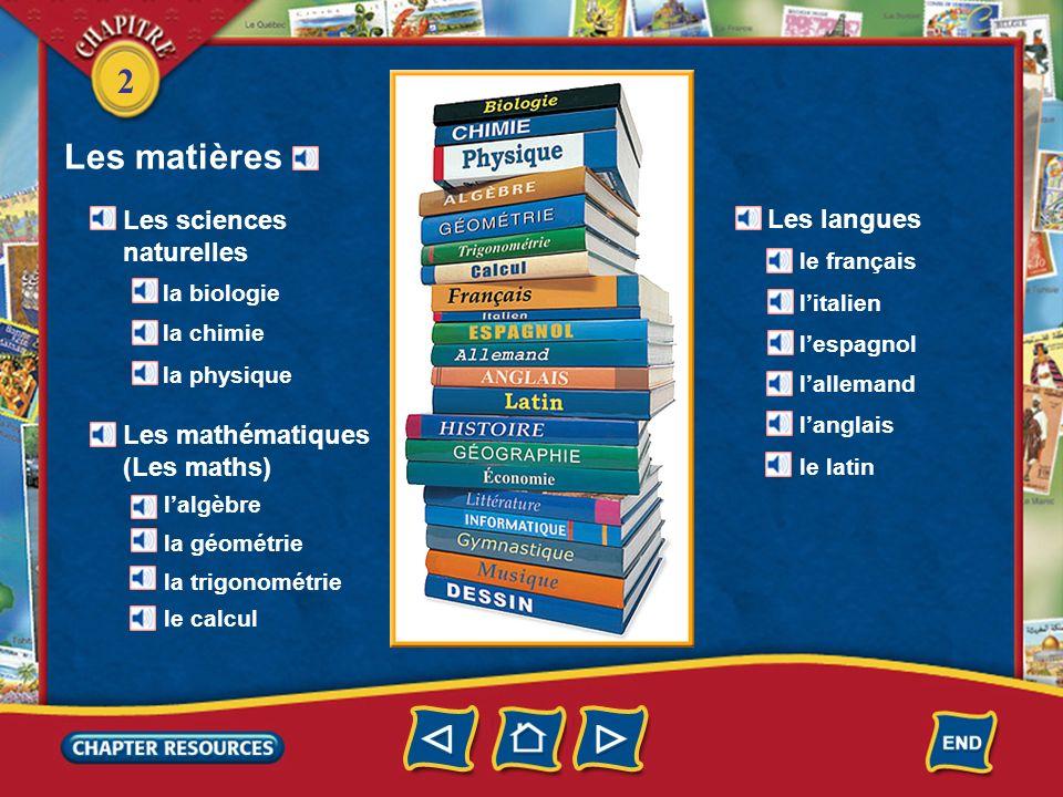 Les matières Les sciences naturelles Les langues Les mathématiques
