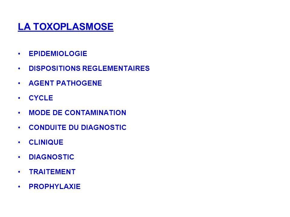 LA TOXOPLASMOSE EPIDEMIOLOGIE DISPOSITIONS REGLEMENTAIRES