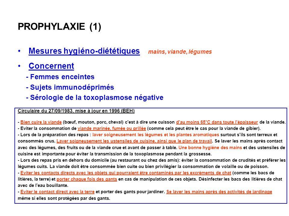 PROPHYLAXIE (1) Mesures hygiéno-diététiques mains, viande, légumes