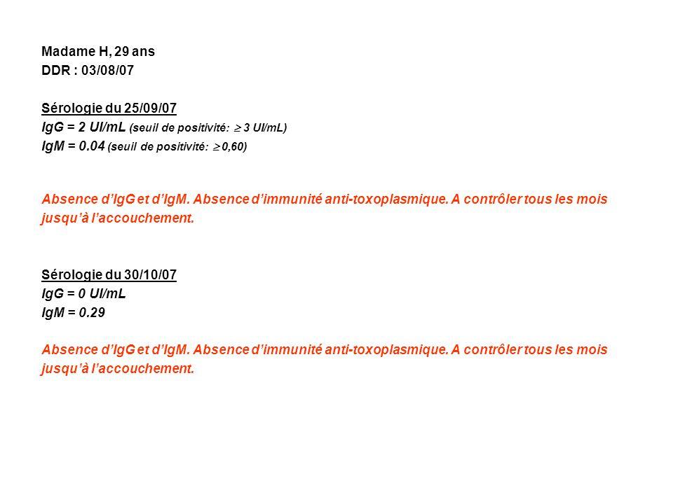 Madame H, 29 ans DDR : 03/08/07. Sérologie du 25/09/07. IgG = 2 UI/mL (seuil de positivité:  3 UI/mL)