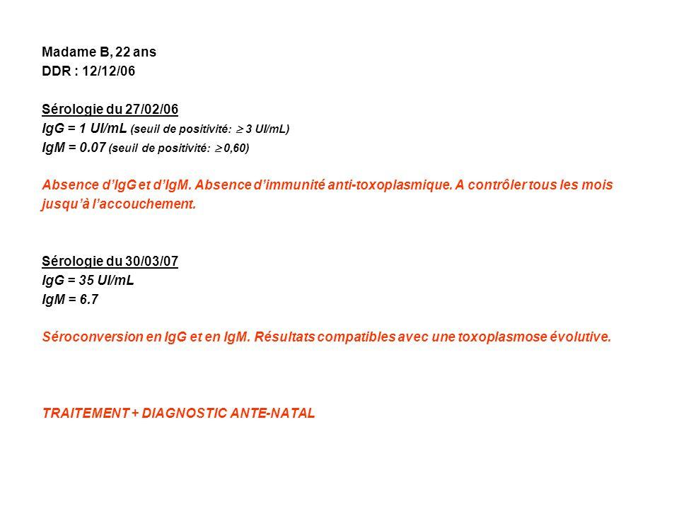 Madame B, 22 ans DDR : 12/12/06. Sérologie du 27/02/06. IgG = 1 UI/mL (seuil de positivité:  3 UI/mL)