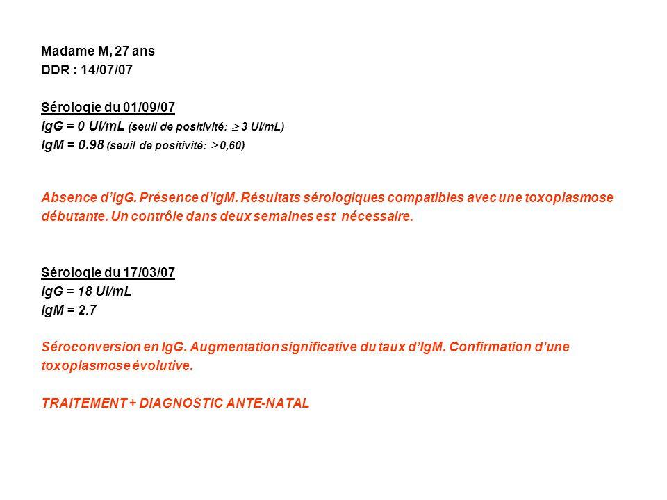 Madame M, 27 ans DDR : 14/07/07. Sérologie du 01/09/07. IgG = 0 UI/mL (seuil de positivité:  3 UI/mL)