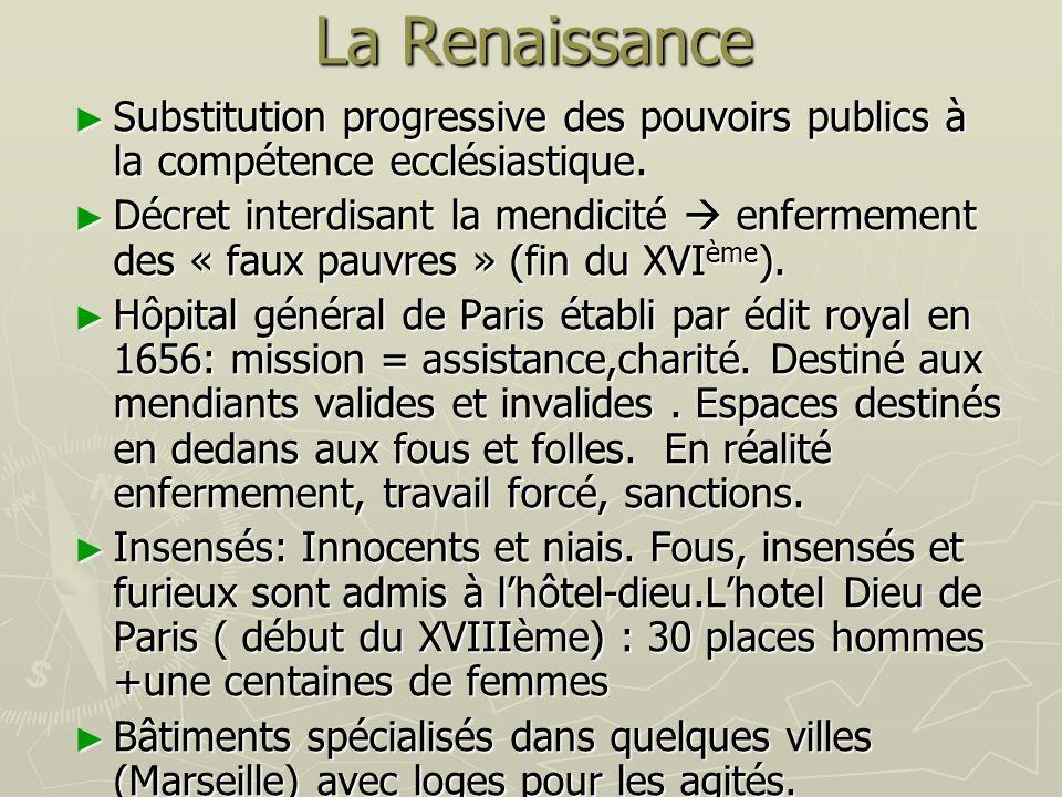 La Renaissance Substitution progressive des pouvoirs publics à la compétence ecclésiastique.