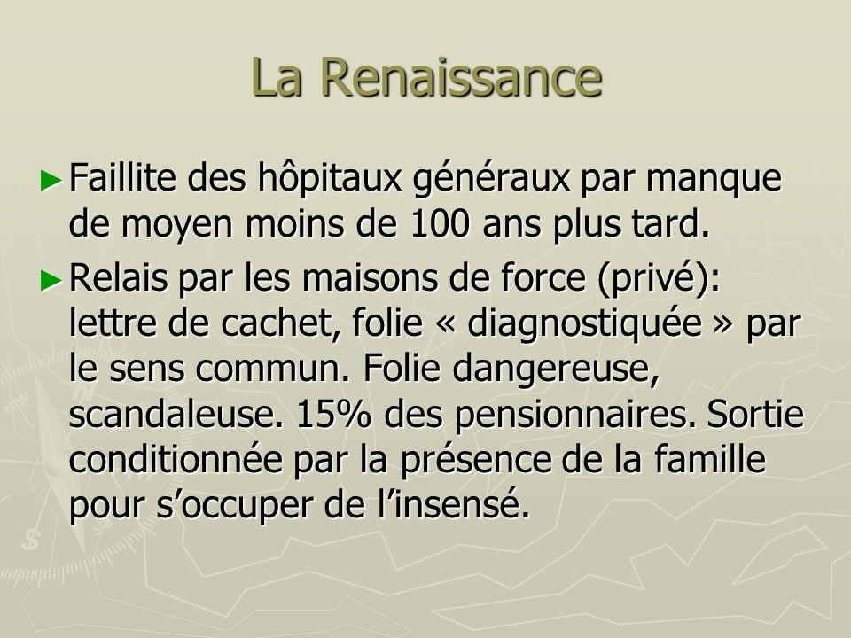 La RenaissanceFaillite des hôpitaux généraux par manque de moyen moins de 100 ans plus tard.